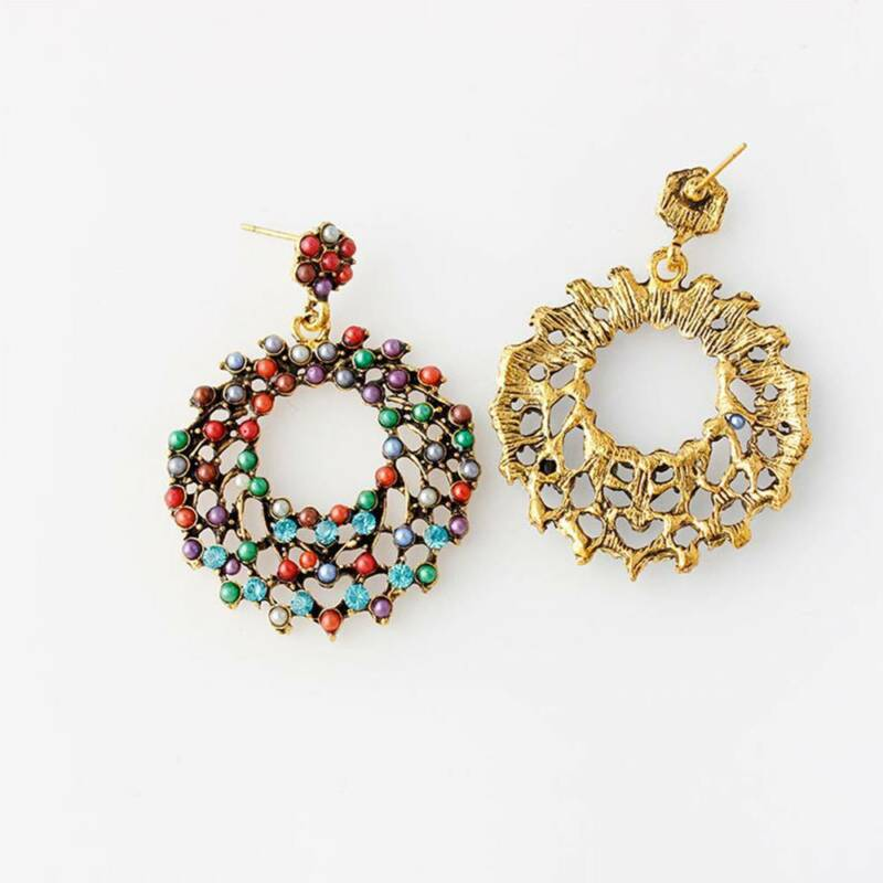 a09eea1379 ETHNIC BOHO EARRINGS Vintage Style Color Beads Hollow Round Hoop Earrings