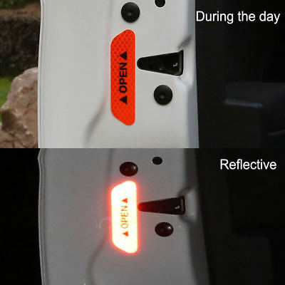Red 4PCS Super Car Door Open Sticker Reflective Tape Safety Warning Decal 5