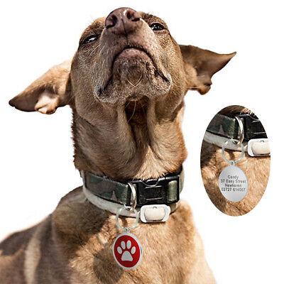 Round Bone Paw Print Custom Personalized Dog Tags Disc Free Engraved Cat ID Tag 10