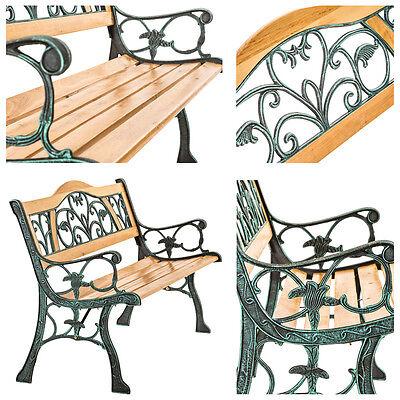 Banc mobilier meuble de jardin parc terrasse en bois et fonte 124cm 4