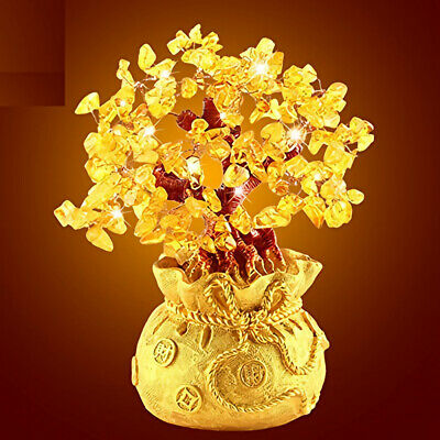 Feng Shui Money Wealth Tree Yellow Citrine Amethyst Crystal Gem Spiritual Lucky 3