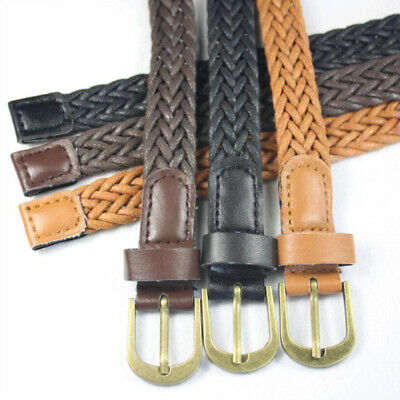 New Fashion Women Braided Girdle Thin Waist Belt Leather Skinny Narrow Waistband 3