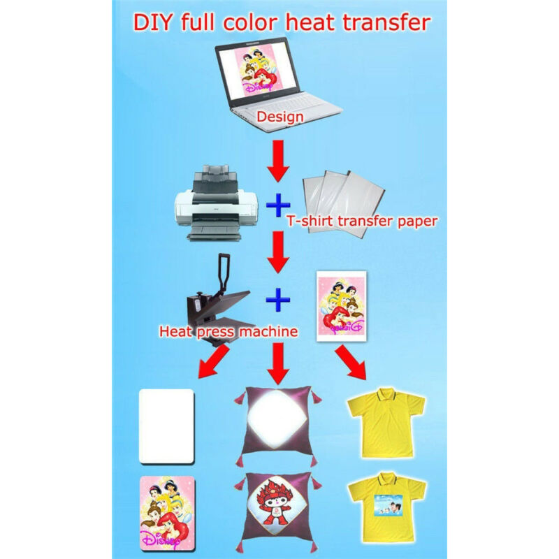 10Pcs A4 Iron On Print Heat Press Transfer Paper Light Fabric T-Shirt UK 9