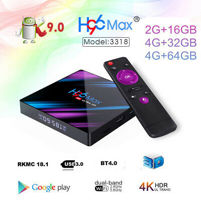 H96 Max Android 9.0 Smart TV Box 64G Quad Core 4K HD 5.8GHz WiFi Media Player 2