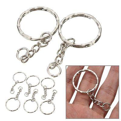 200Pc DIY 25mm Polished Silver Keyring Keychain Split Ring Short Chain Key Rings 6