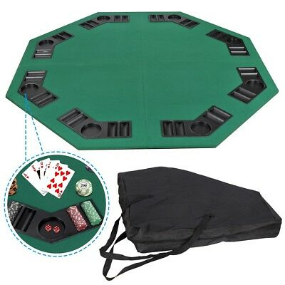 """48"""" Folding Octagon Poker Card Game Table Top w/Cup Chip Holders Blackjack Party 6"""