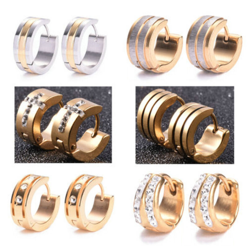 1 Pairs Fashion Women/Men Stainless Steel Hoop Earrings Circle Round Jewelry 7