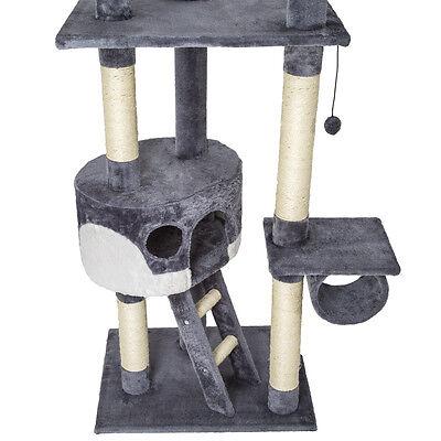 Arbre à chat griffoir grattoir jouet animaux douillet geant peluché gris blanc 3