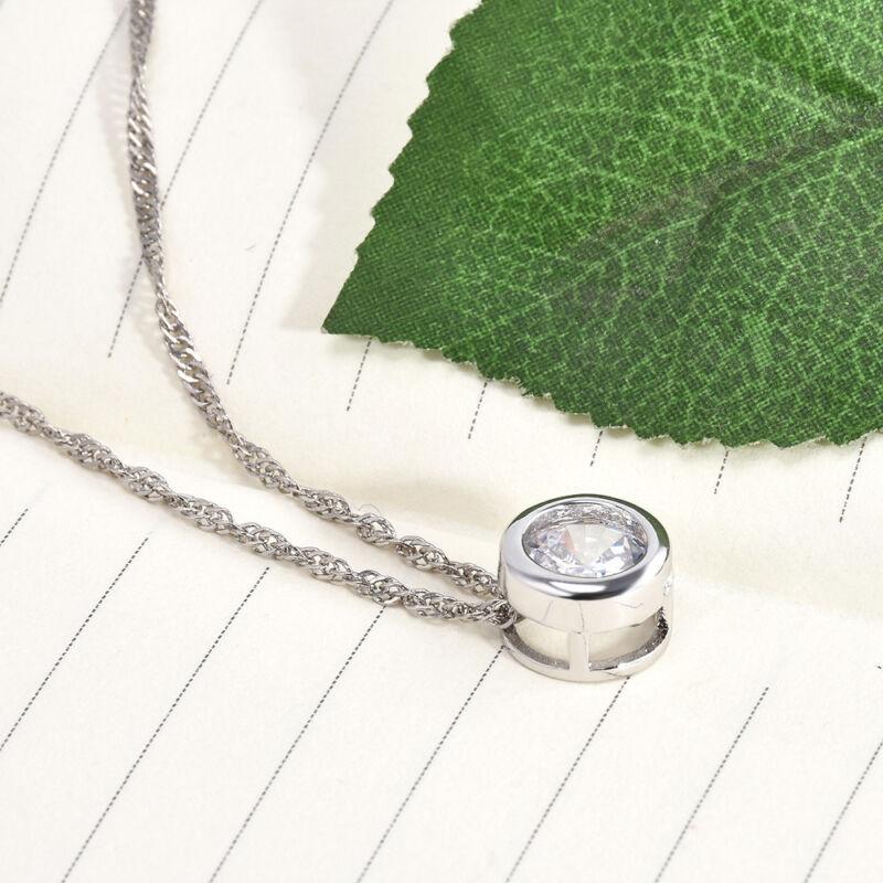Fashion Women Round Single Crystal Rhinestone Silver Pendant Necklace Jewelry 9