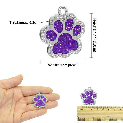 Personalized Dog Tags Engraved Puppy Pet ID Name Collar Tag Bling Paw Glitter 6