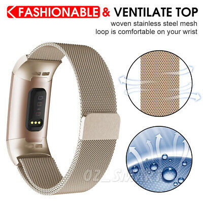 For Fitbit Charge 3 Band Metal Stainless Steel Milanese Loop Wristband Strap 4