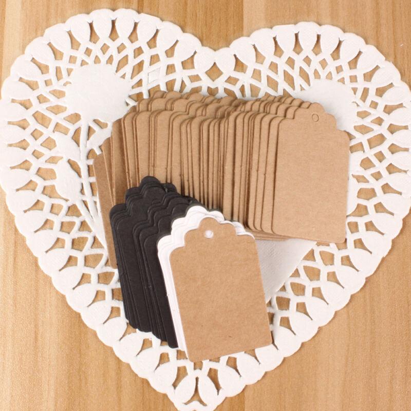 100 Pcs Kraft Paper Gift Tags Wedding Scallop Label Blank Luggage Tag 4*2cm UK 7