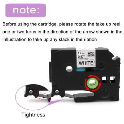12mm White on Black Compatible with Brother TZ TZe-335 P-Touch Label Tape 2PK 2
