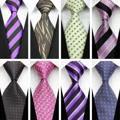 Blue Grey Black Red White Purple Wedding Stripe Plaid Dots Necktie Silk Mens Tie 5