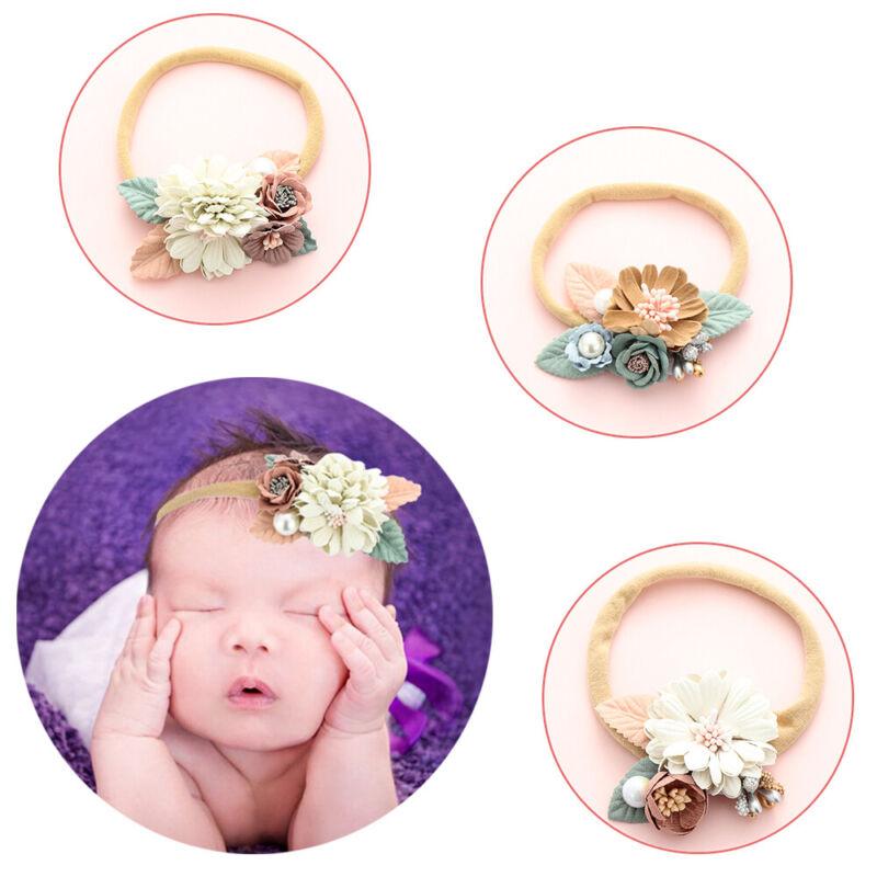 Newborn Baby Girls Flower Headband Elastic Hairband Bowknot Hair Accessories UK 3