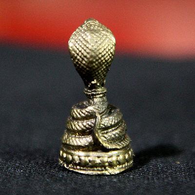 Cobra Snake Brass figurine Statue Power Amulet Animal Rich Wealth Lucky DBA