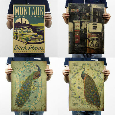 Prints/Vintage Poster History Bar Counter Adornment Retro Poster Wall Stickers 3