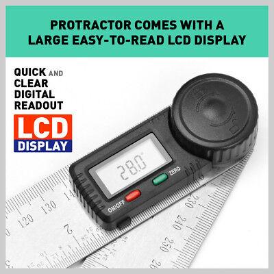 200mm Digital Angle Finder Ruler Protractor Measure Meter Stainless Steel 0-360° 3