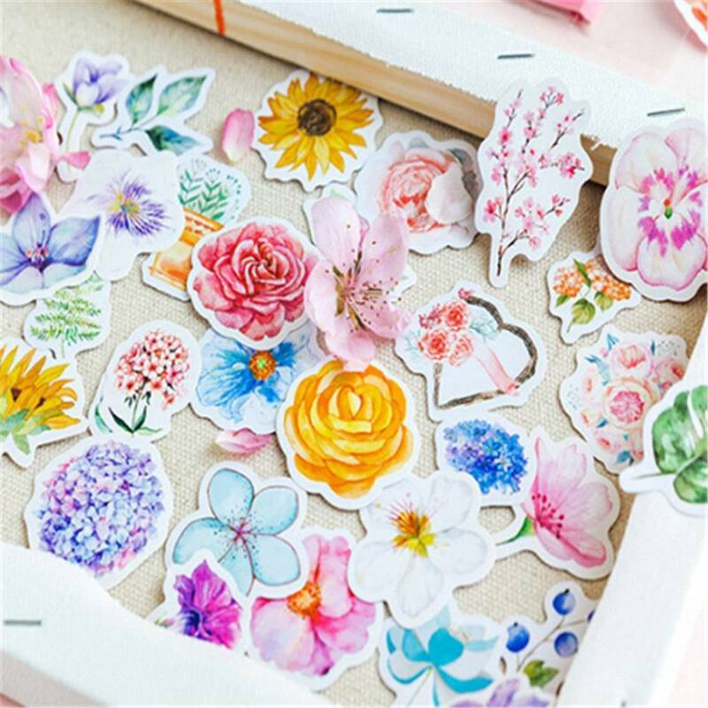 45Pcs/bag Cute Diary Journal Flower Stickers Scrapbooking Japanese Style Decor 3