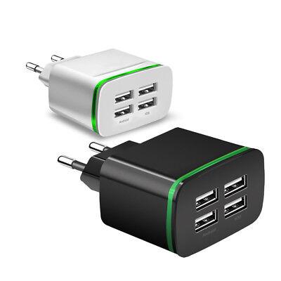 USB Ladegerät 4 Fach 5V 4A Adapter Netzstecker Reise Adapter EU Stecker 110-220V
