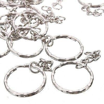 200Pc DIY 25mm Polished Silver Keyring Keychain Split Ring Short Chain Key Rings 4