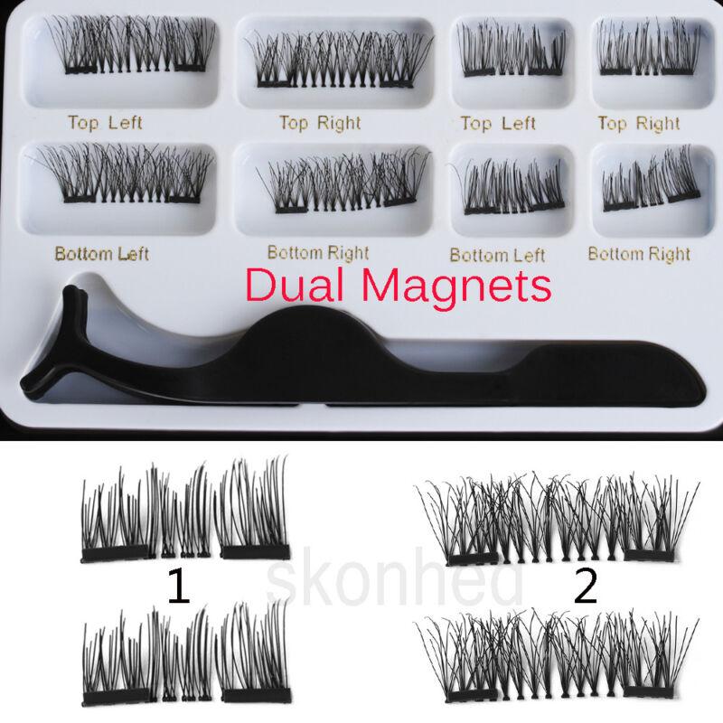 SKONHED 4 Paires Multipack Double Faux Cils Magnétiques Épais Long Naturel