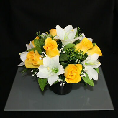 Grave Artificial/silk flower pot arrangement in memorial Crem Pot Grave funeral 2