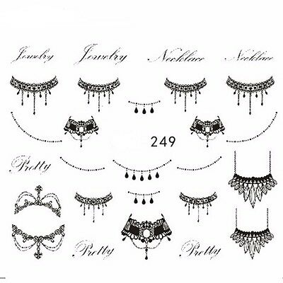 Nail Art Water Decals Stickers Transfers Bows Necklace Jewellery Lace Gel Polish