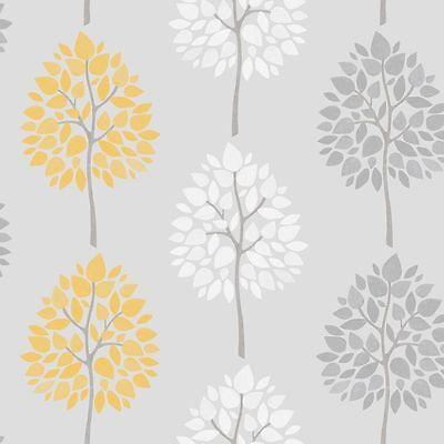 Wallpaper & Accessories FD41592 RIVA TREE MOTIF TEAL GREEN YELLOW WALLPAPER