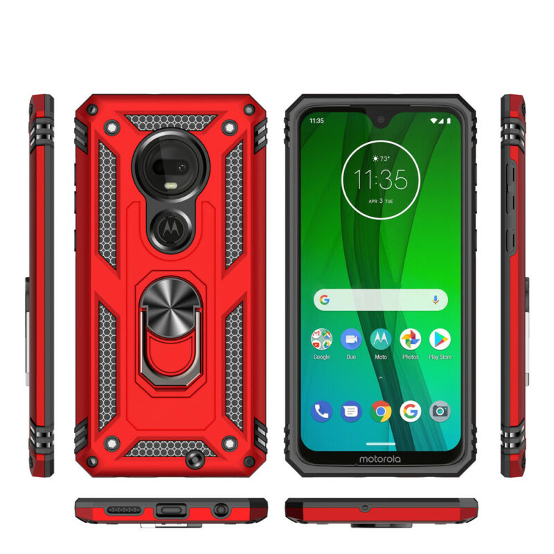 For Motorola Moto E6 G7 Plus/Power/Supra/Play Armor Ring Holder Stand Case Cover 5