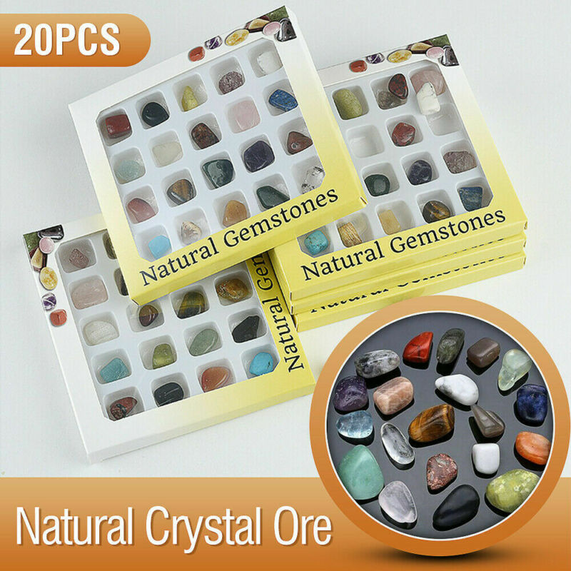 20pc Healing Reiki Polished Chakra Stone Display Crystal Gemstone Collection Set 3