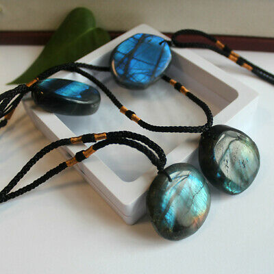 Delicate Natural Labradorite Pendant Crystal Necklace Healing Stone Necklace 3