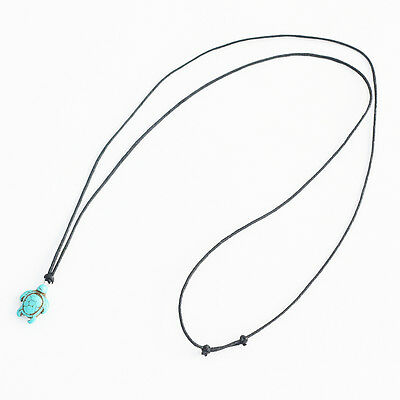 Turquoise Turtle Charm Pendant Choker Necklace with Black Cord 3