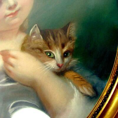 French Portrait of a Little Girl & Cat Pastel Painting Signed, Framed 7