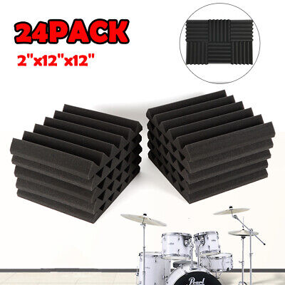 """24 Pack 2"""" X 12"""" X 12"""" Acoustic Foam Tiles Panel Wedge Studio Soundproofing Wall 3"""
