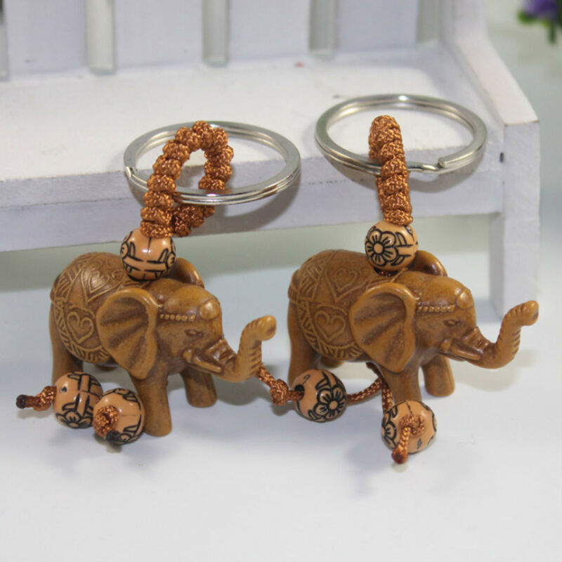 Lucky Elephant Carving Wooden Pendant Keychain Key Chain Ring Evil Defends Gift 8