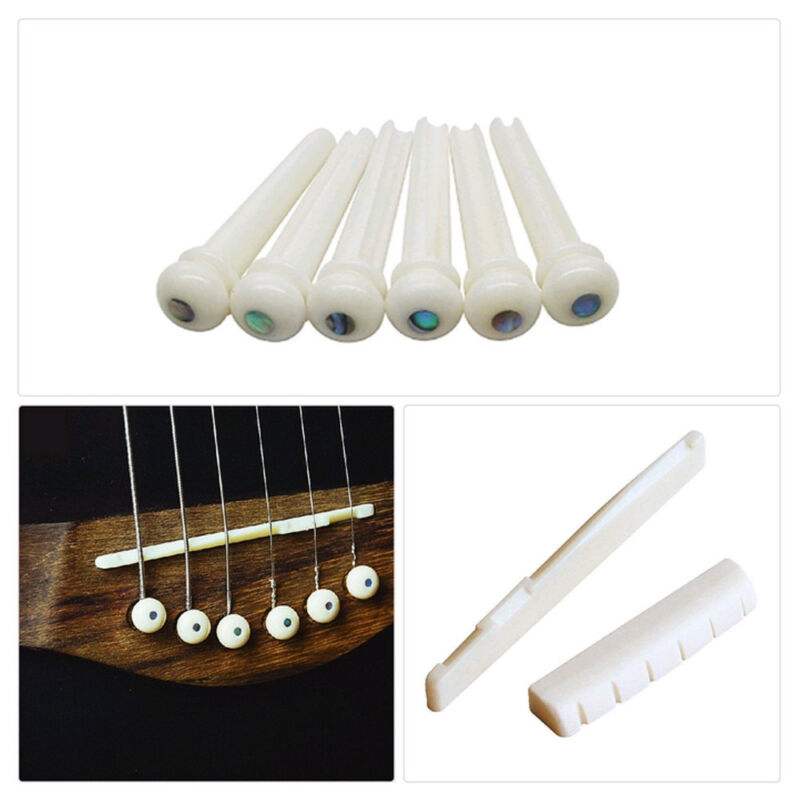 Saddle Bone Acoustic Guitar 6Pcs Bridge Pins + 1Pc saddle + 1Pc bridge White Set