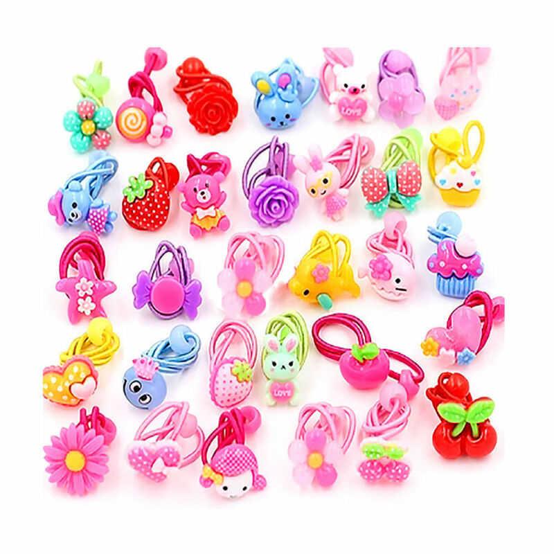 10PCS Cute Elastic Rope Ring Hairband Kids Candy Color Hair Band Ponytail Holder 2