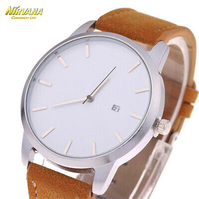 Men's Fashion Sport Stainless Steel Case Leather Band Quartz Analog Casual Watch 6