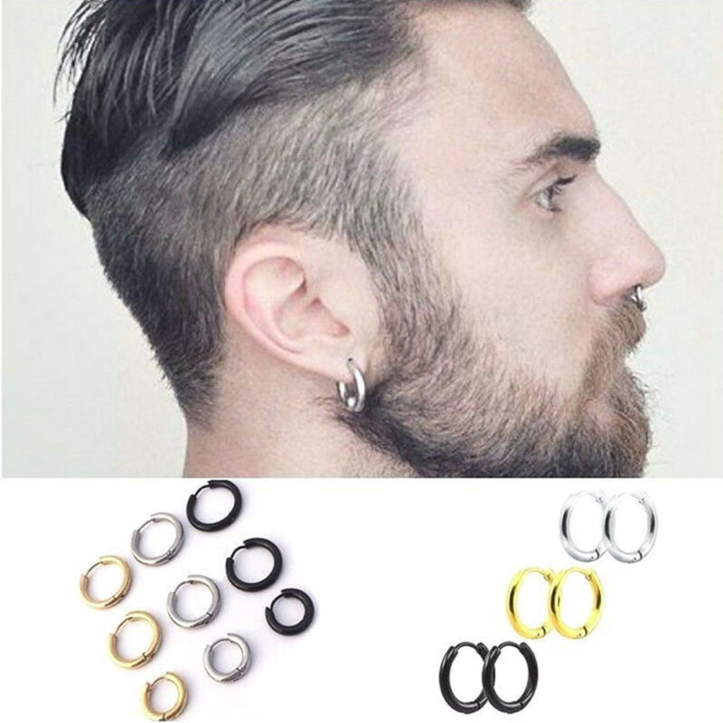 1 Pairs Fashion Women/Men Stainless Steel Hoop Earrings Circle Round Jewelry 10