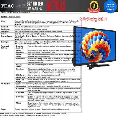"TEAC 32"" Inch HD SMART TV Netflix Youtube WIFI PVR APP Made Europe 3 Yr Warranty 9"