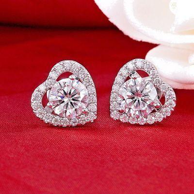 Solid 14K White Gold Finish 2.20Ct Round VVS1/D Diamond Halo Heart Stud Earrings 2