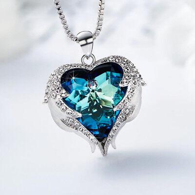 Halskette Herz Anhänger Schutzengel Flügel mit Kristall 18K Weißgold