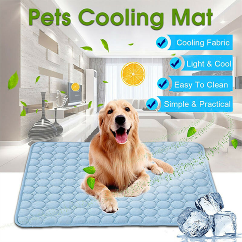 Summer Chilly Mat Cooling Pet Dog Cat Puppy Bed Pad Indoor Cool Cushion Fiber HQ 2