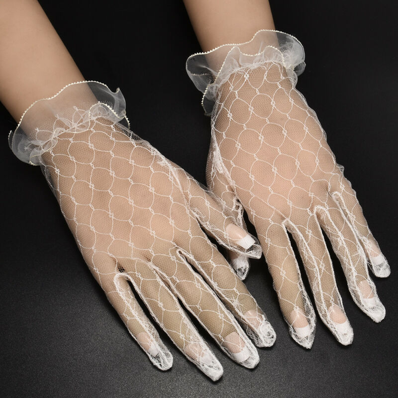 Hot 1Pair Ivory Lace Wedding Gloves Women's Wedding Bridal Party Gloves JT 4