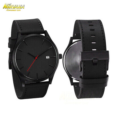 Men's Fashion Sport Stainless Steel Case Leather Band Quartz Analog Casual Watch 4