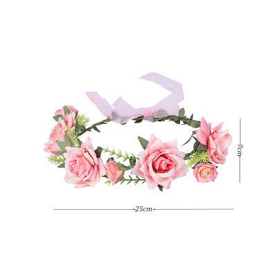 Adjustable Women's Beautiful Flower Crown Headband Hair Wreath Garland Ribbon 9