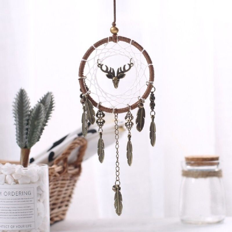 Brown Dream Catcher Wall Hanging Feather Decoration Ornament Handmade Craft DIY 2