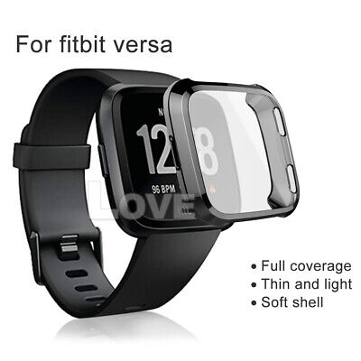 Soft TPU Silicone Shell Frame Full Case Cover Screen Protector for Fitbit Versa 3