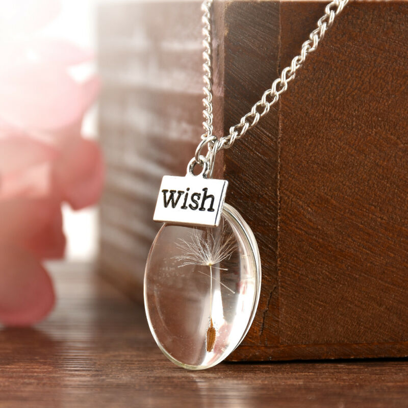 Wish Glass Real Dandelion Seeds In Glass Wish Bottle Chain Necklace Pendant 2